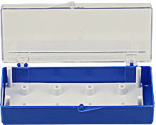 EM Tec SB8 small size clear styrene box for 8 standard 12.7mm SEM pin stubs